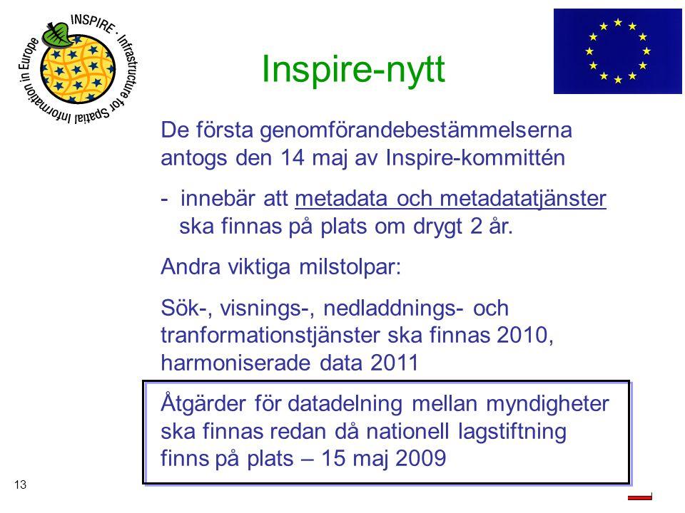 Inspire-nytt De första genomförandebestämmelserna antogs den 14 maj av Inspire-kommittén.