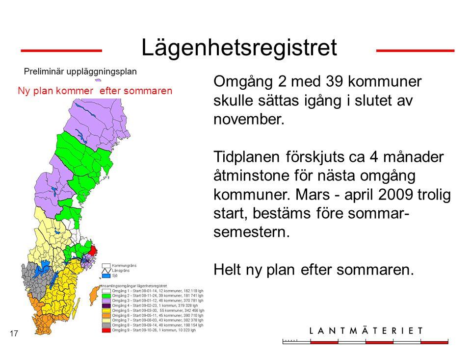 Lägenhetsregistret Omgång 2 med 39 kommuner skulle sättas igång i slutet av november.