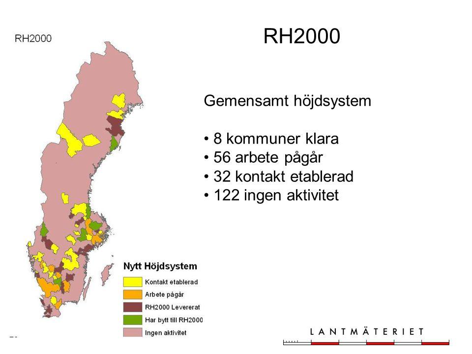 RH2000 Gemensamt höjdsystem 8 kommuner klara 56 arbete pågår