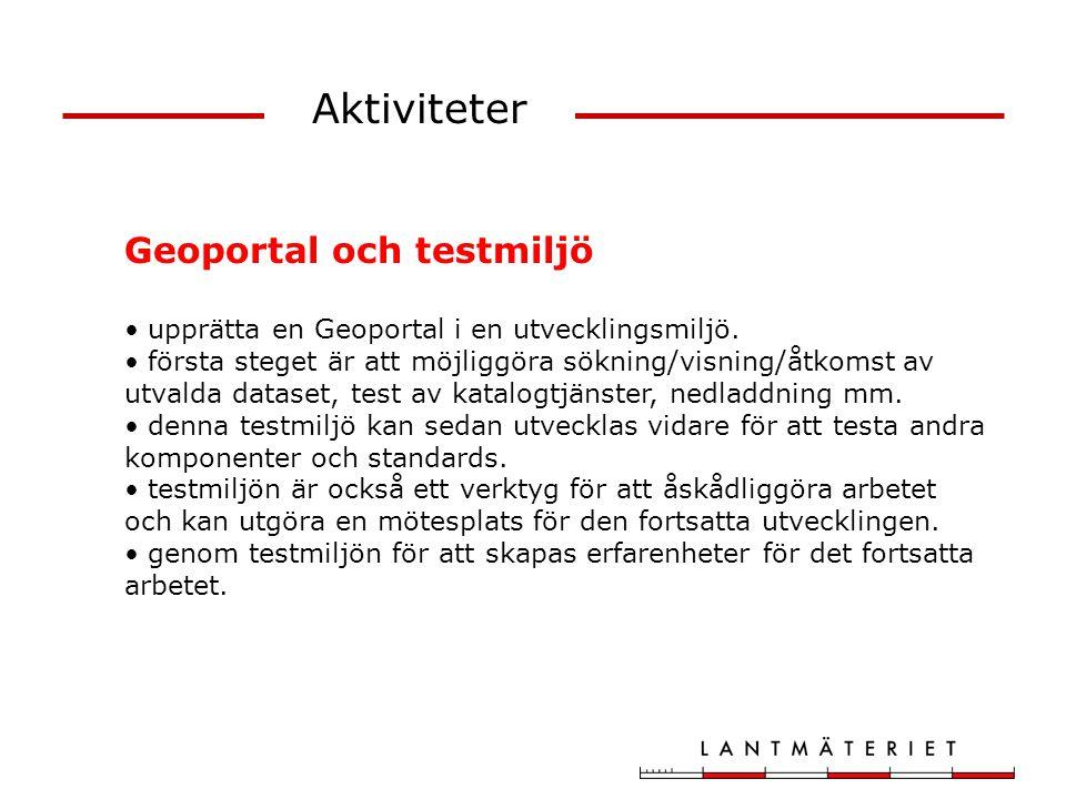 Aktiviteter Geoportal och testmiljö