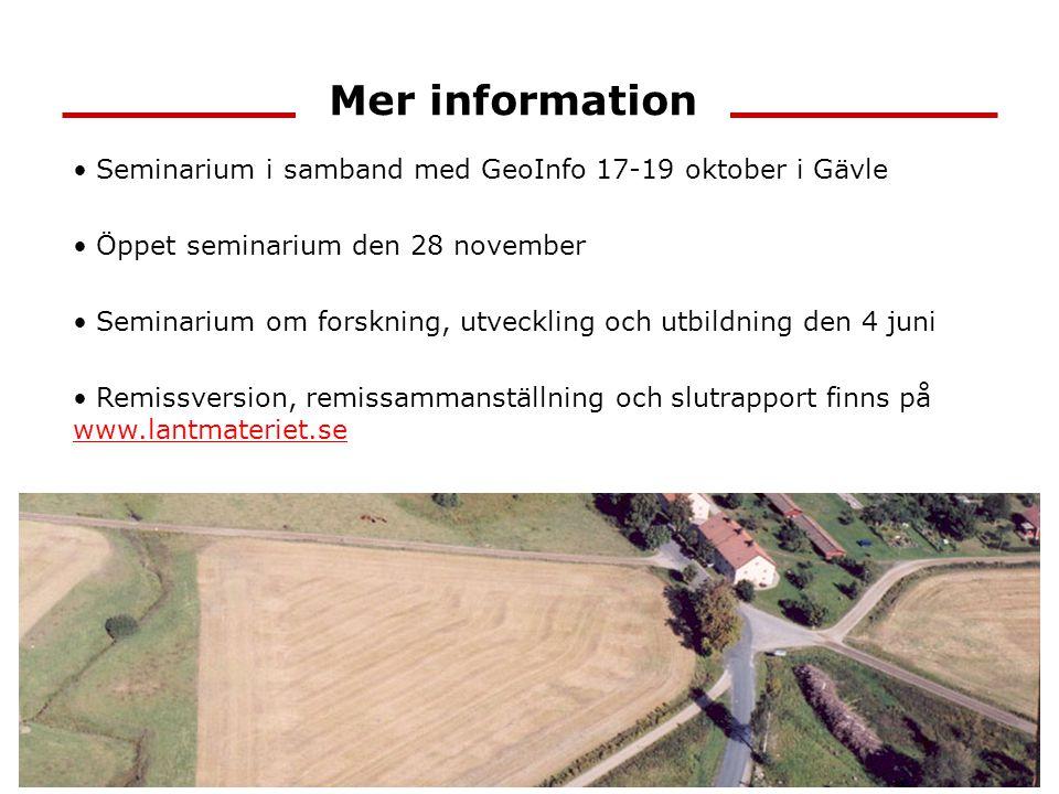 Mer information Seminarium i samband med GeoInfo 17-19 oktober i Gävle