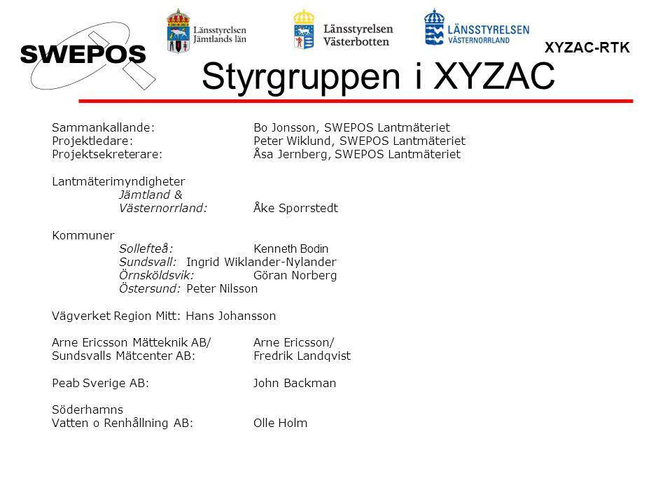Styrgruppen i XYZAC Sammankallande: Bo Jonsson, SWEPOS Lantmäteriet