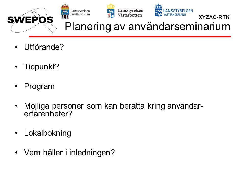 Planering av användarseminarium