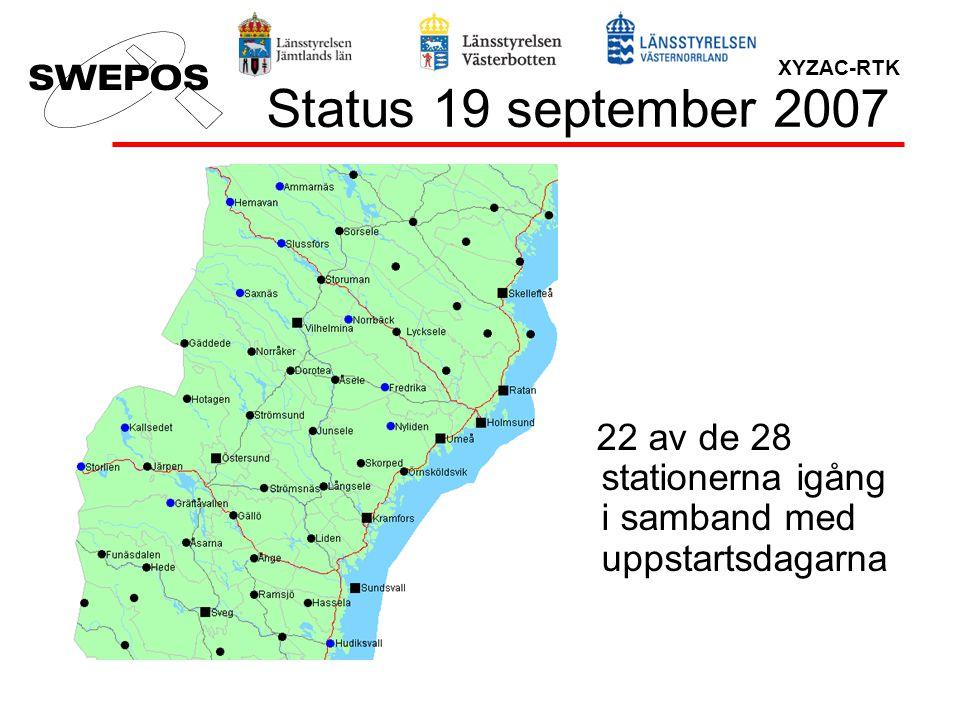 Status 19 september 2007 22 av de 28 stationerna igång i samband med uppstartsdagarna