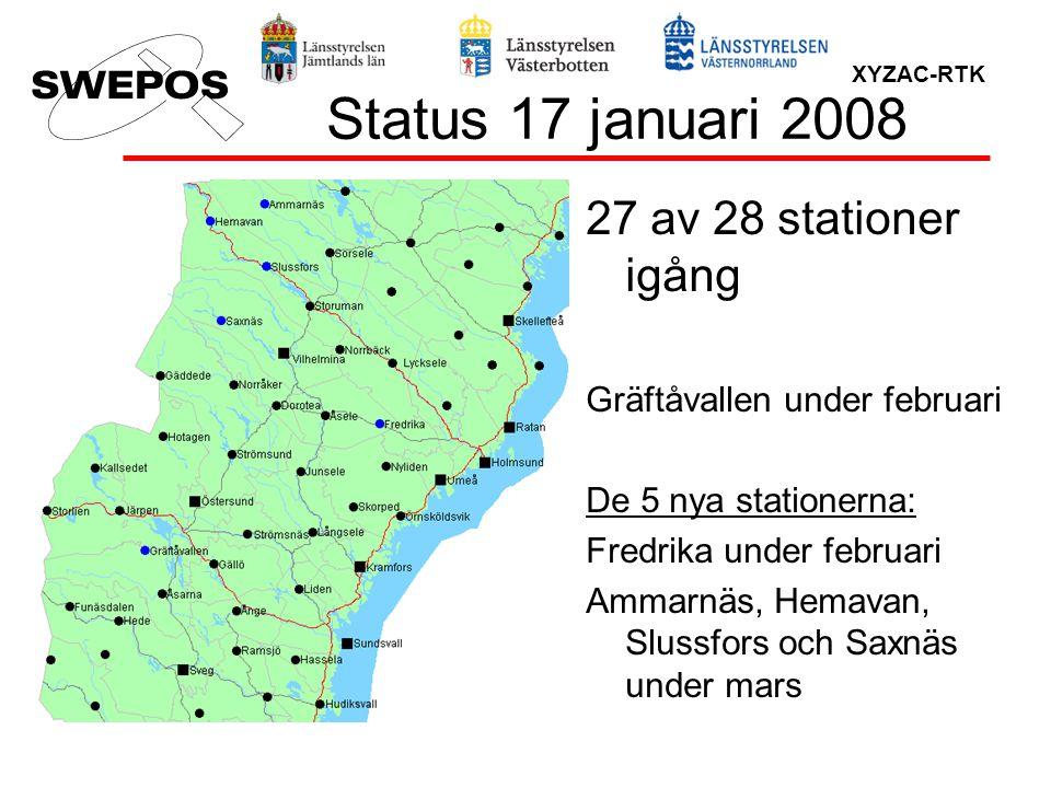 Status 17 januari 2008 27 av 28 stationer igång