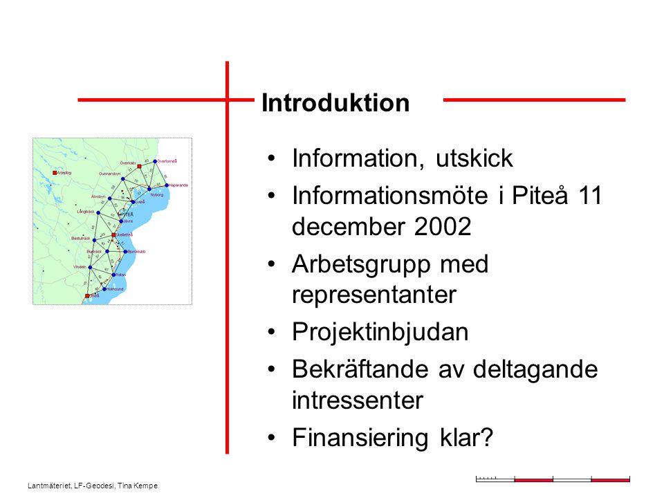 Introduktion Information, utskick. Informationsmöte i Piteå 11 december 2002. Arbetsgrupp med representanter.