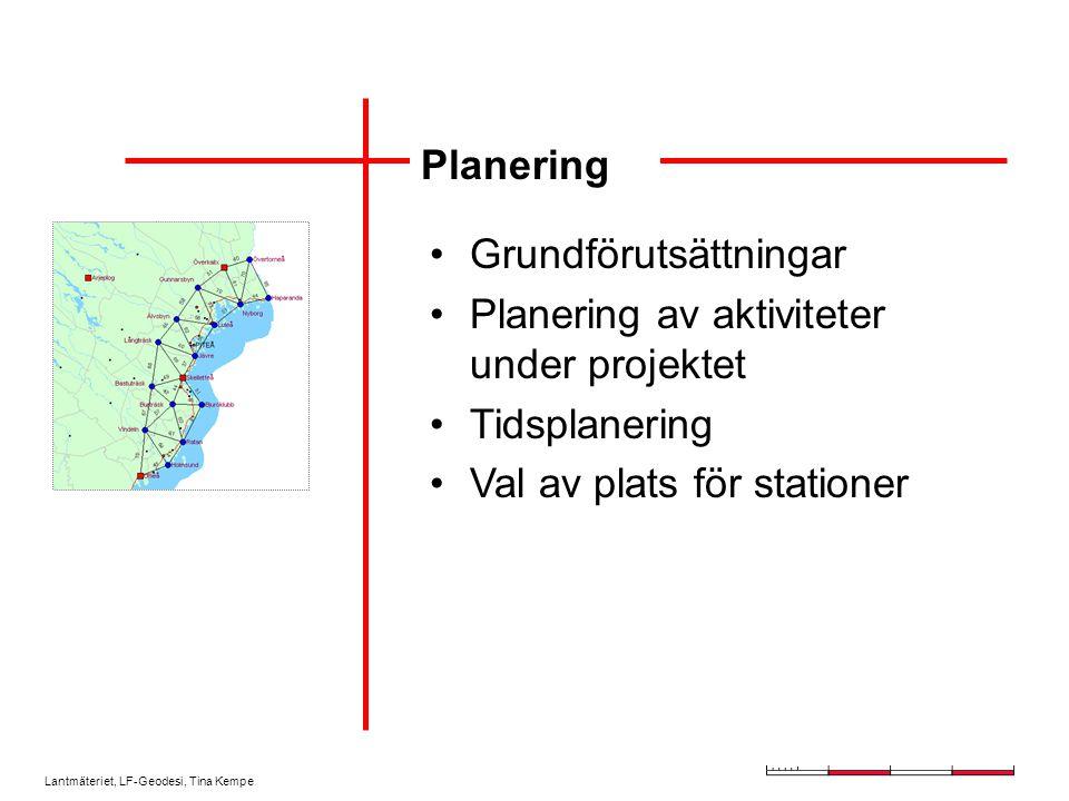 Planering Grundförutsättningar. Planering av aktiviteter under projektet.