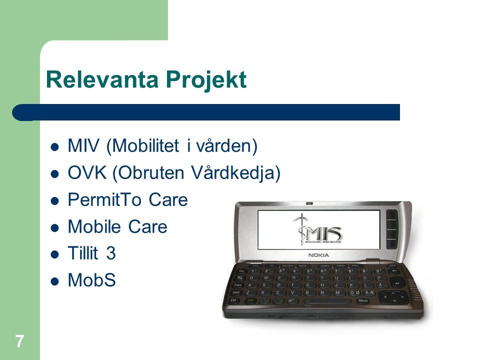 Relevanta Projekt MIV (Mobilitet i vården) OVK (Obruten Vårdkedja)