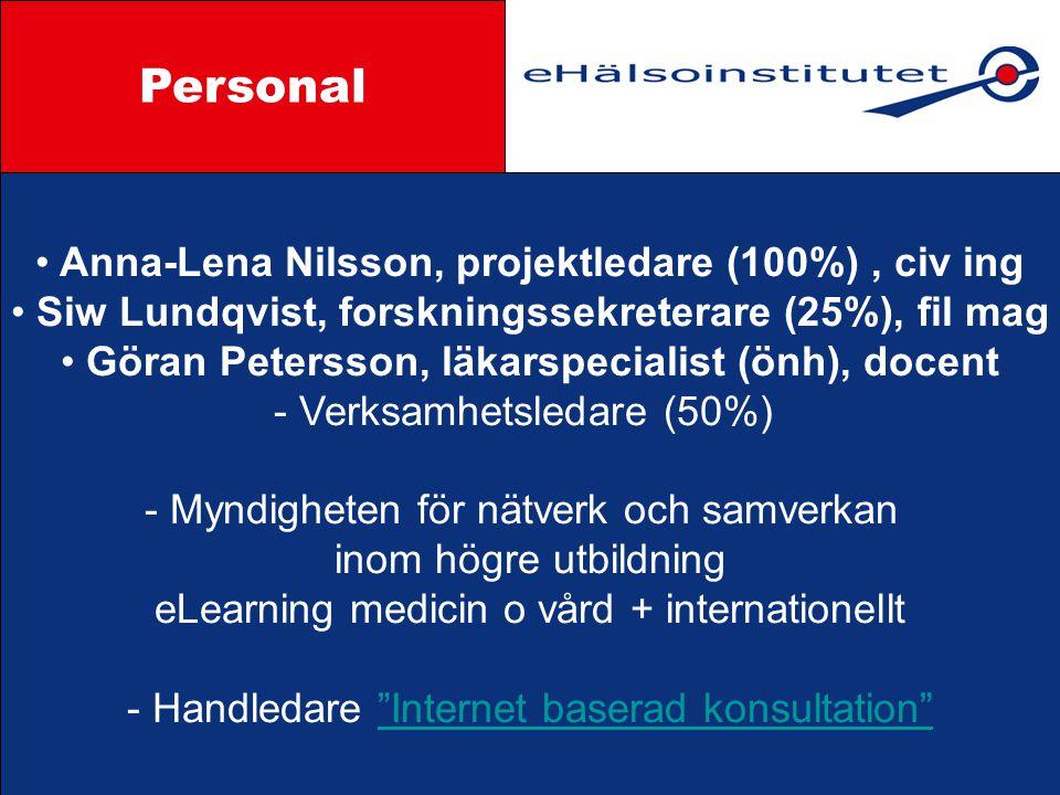 Personal Styrgrupp Anna-Lena Nilsson, projektledare (100%) , civ ing