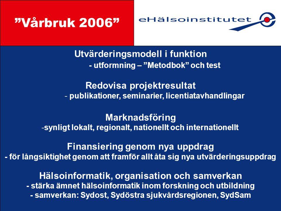 Vårbruk 2006 Styrgrupp Utvärderingsmodell i funktion