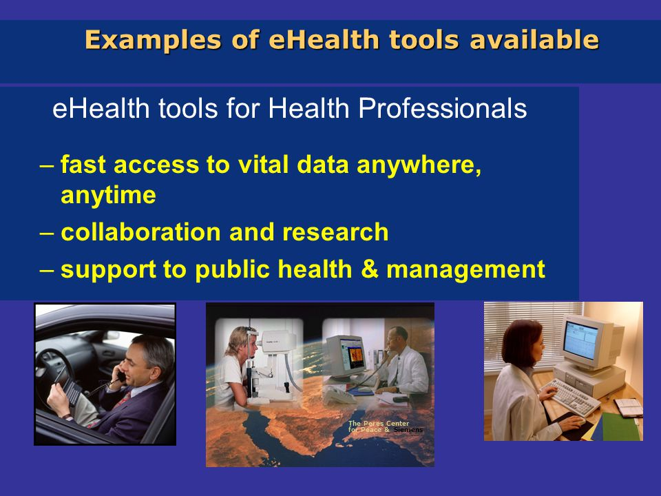 Examples of eHealth tools available