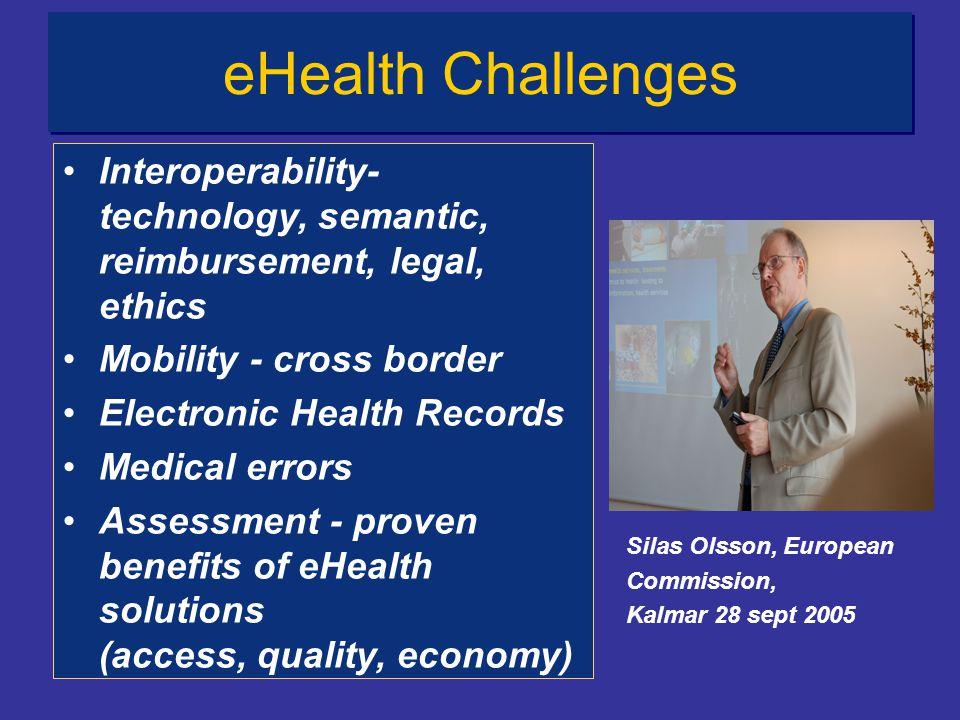 eHealth Challenges Interoperability- technology, semantic, reimbursement, legal, ethics. Mobility - cross border.