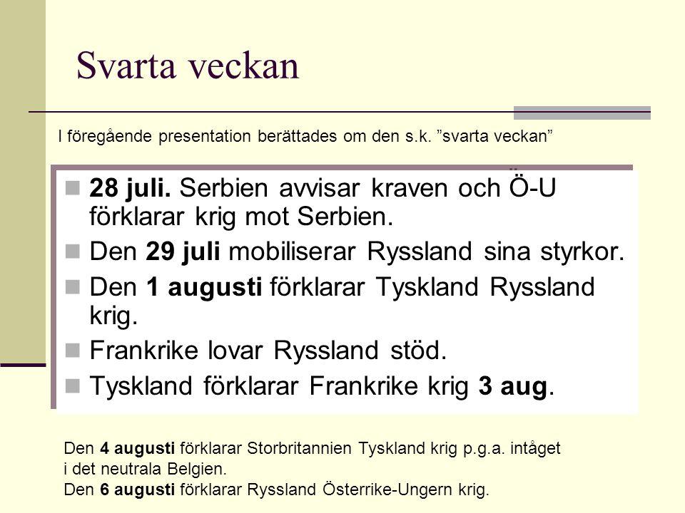 Svarta veckan I föregående presentation berättades om den s.k. svarta veckan 28 juli. Serbien avvisar kraven och Ö-U förklarar krig mot Serbien.