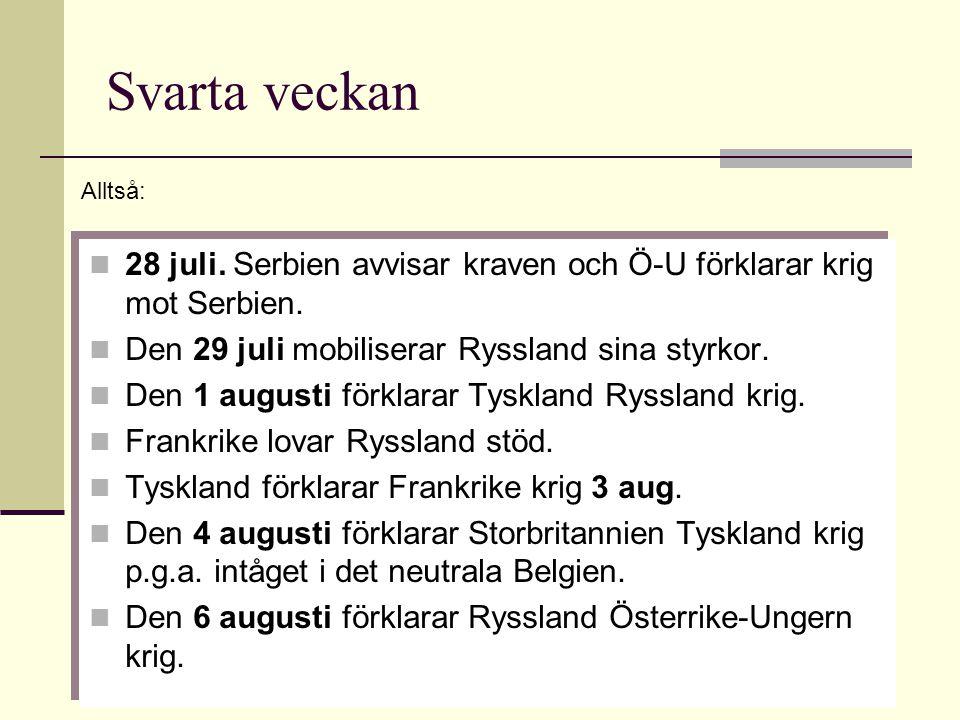 Svarta veckan Alltså: 28 juli. Serbien avvisar kraven och Ö-U förklarar krig mot Serbien. Den 29 juli mobiliserar Ryssland sina styrkor.