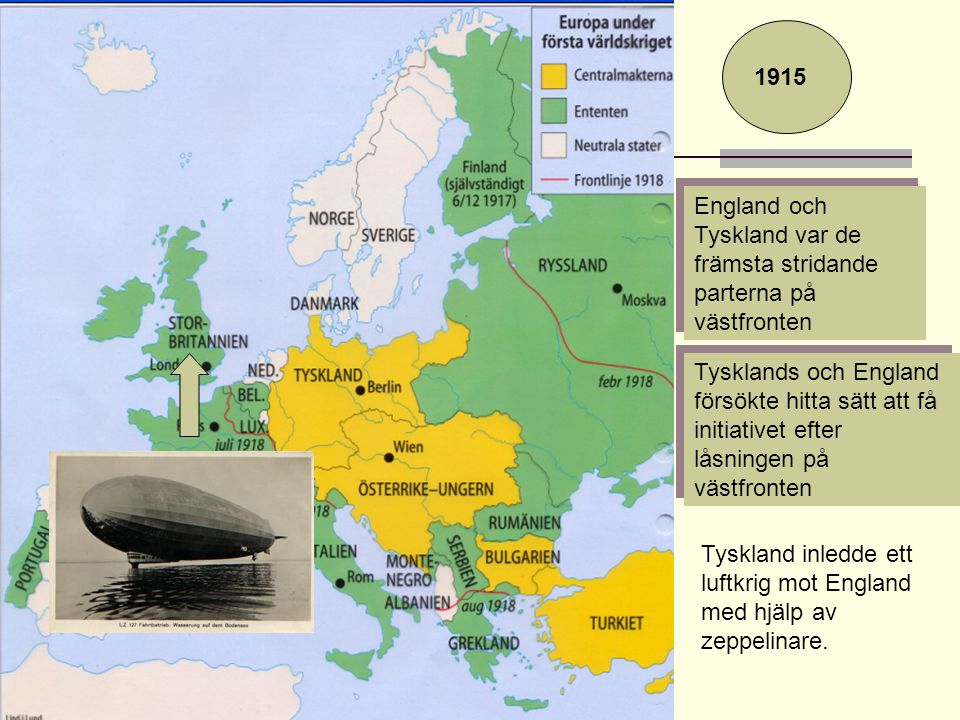 1915 England och Tyskland var de främsta stridande parterna på västfronten.