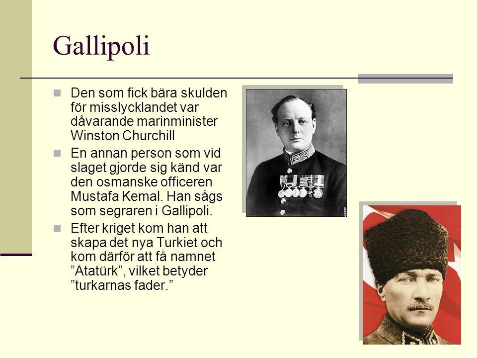 Gallipoli Den som fick bära skulden för misslycklandet var dåvarande marinminister Winston Churchill.