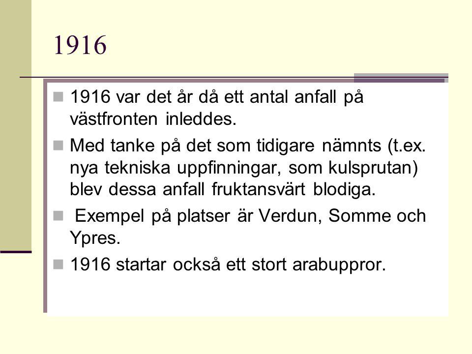 1916 1916 var det år då ett antal anfall på västfronten inleddes.