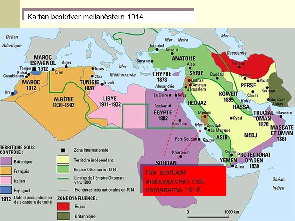 Kartan beskriver mellanöstern 1914.