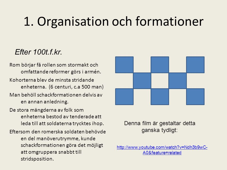 1. Organisation och formationer