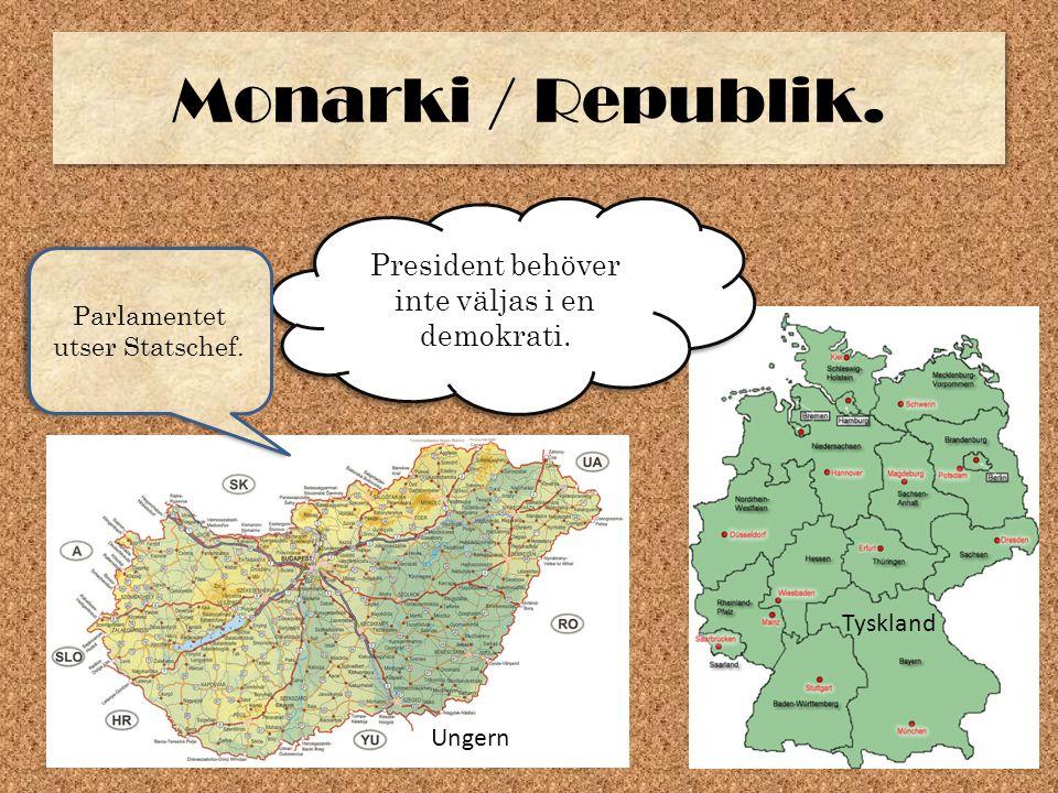 Monarki / Republik. President behöver inte väljas i en demokrati.