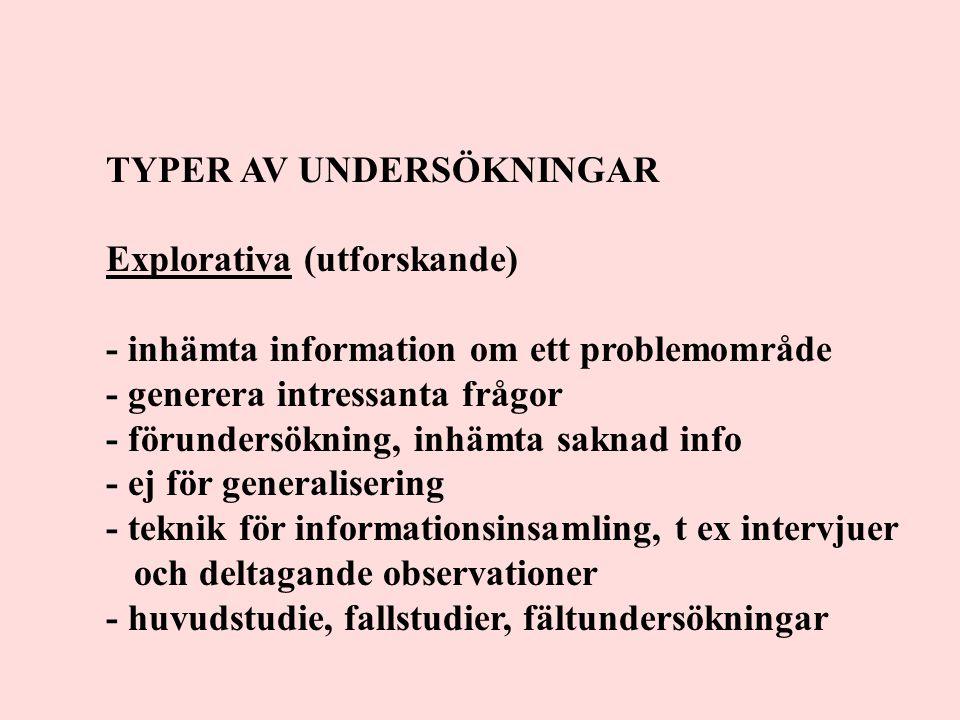 TYPER AV UNDERSÖKNINGAR