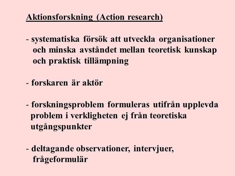 Aktionsforskning (Action research)