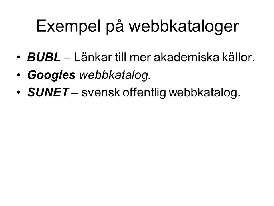Exempel på webbkataloger