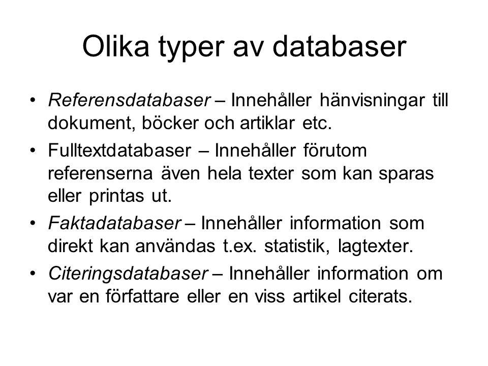 Olika typer av databaser
