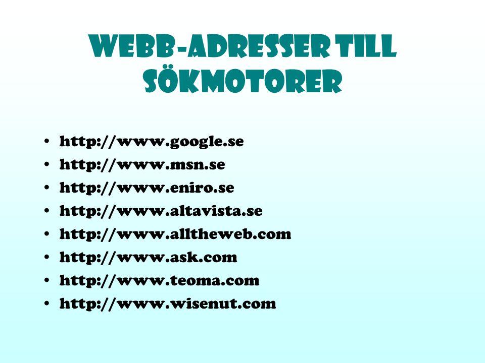 Webb-Adresser till sökmotorer