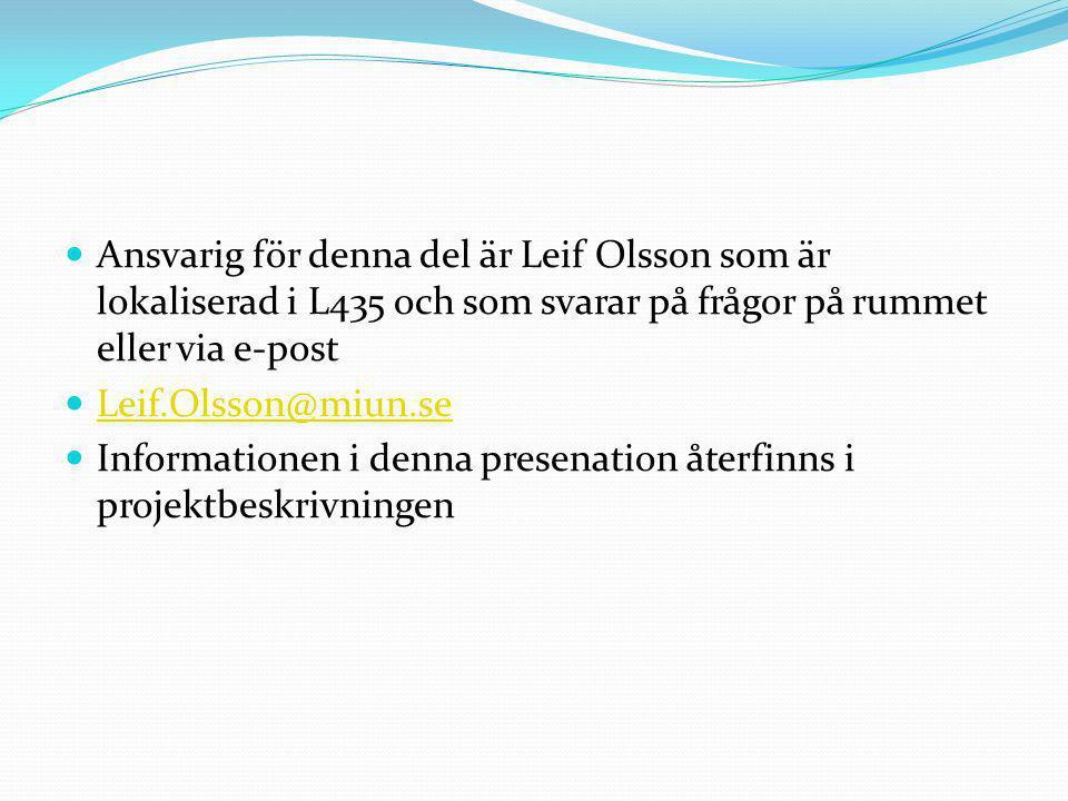 Ansvarig för denna del är Leif Olsson som är lokaliserad i L435 och som svarar på frågor på rummet eller via e-post