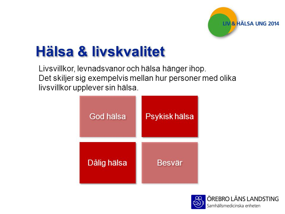 Hälsa & livskvalitet Livsvillkor, levnadsvanor och hälsa hänger ihop.