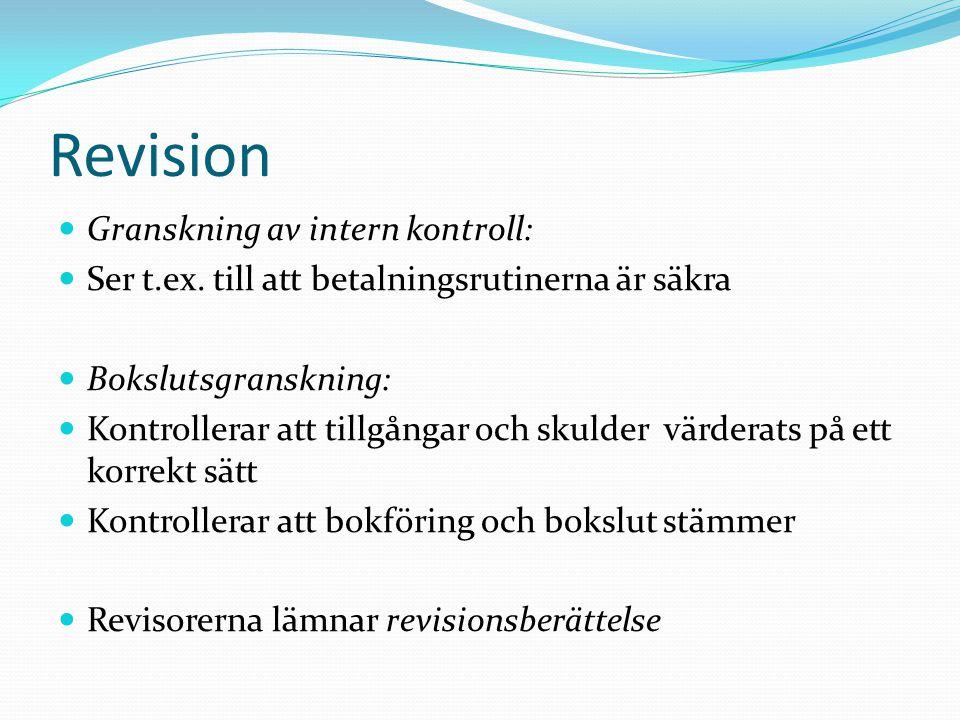 Revision Granskning av intern kontroll: