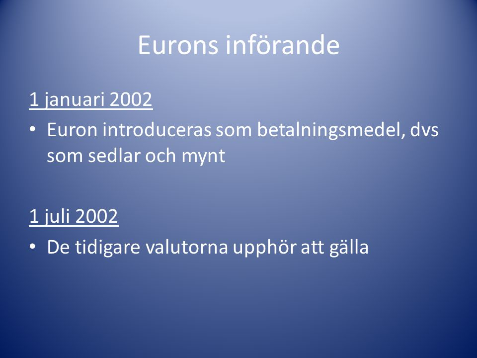 Eurons införande 1 januari 2002