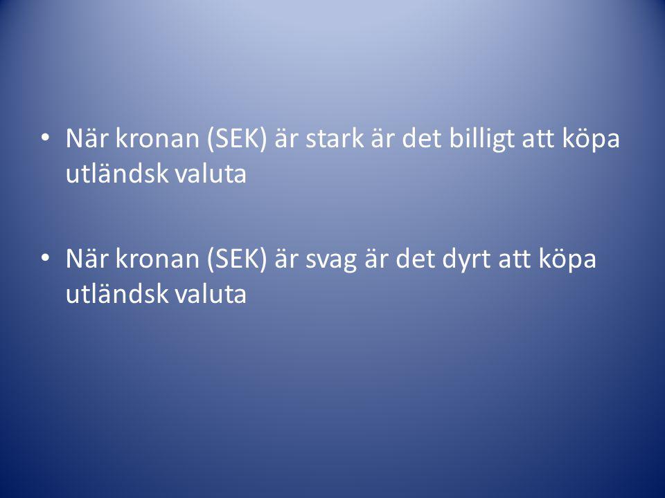 När kronan (SEK) är stark är det billigt att köpa utländsk valuta