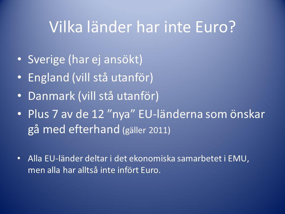 Vilka länder har inte Euro