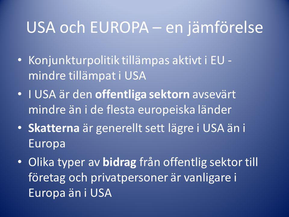 USA och EUROPA – en jämförelse