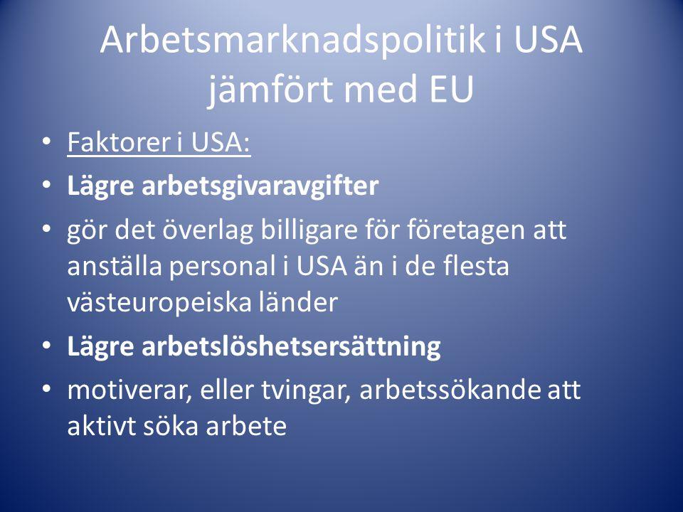 Arbetsmarknadspolitik i USA jämfört med EU