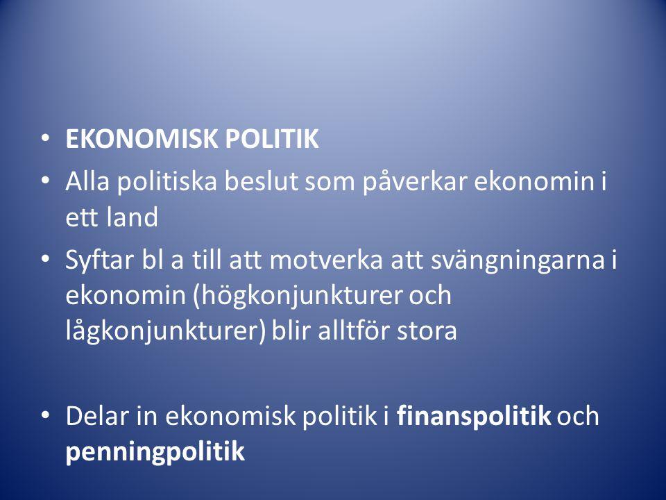 EKONOMISK POLITIK Alla politiska beslut som påverkar ekonomin i ett land.