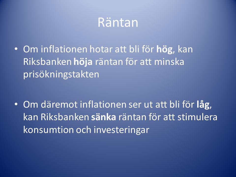 Räntan Om inflationen hotar att bli för hög, kan Riksbanken höja räntan för att minska prisökningstakten.