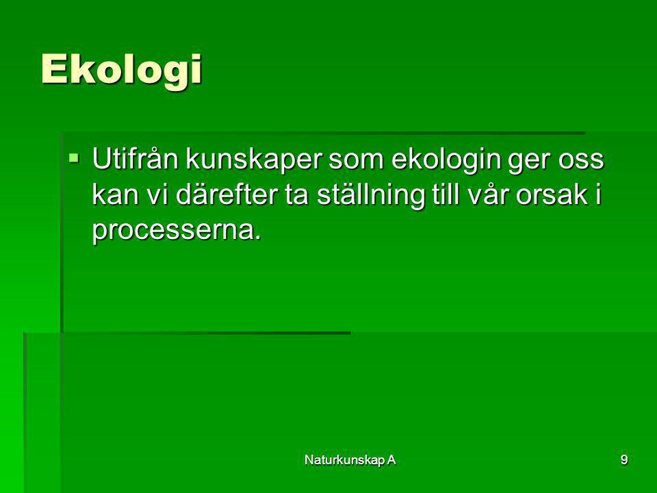 Ekologi Utifrån kunskaper som ekologin ger oss kan vi därefter ta ställning till vår orsak i processerna.