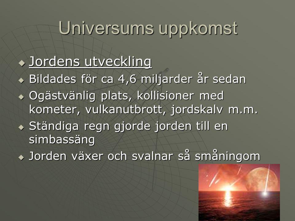 Universums uppkomst Jordens utveckling