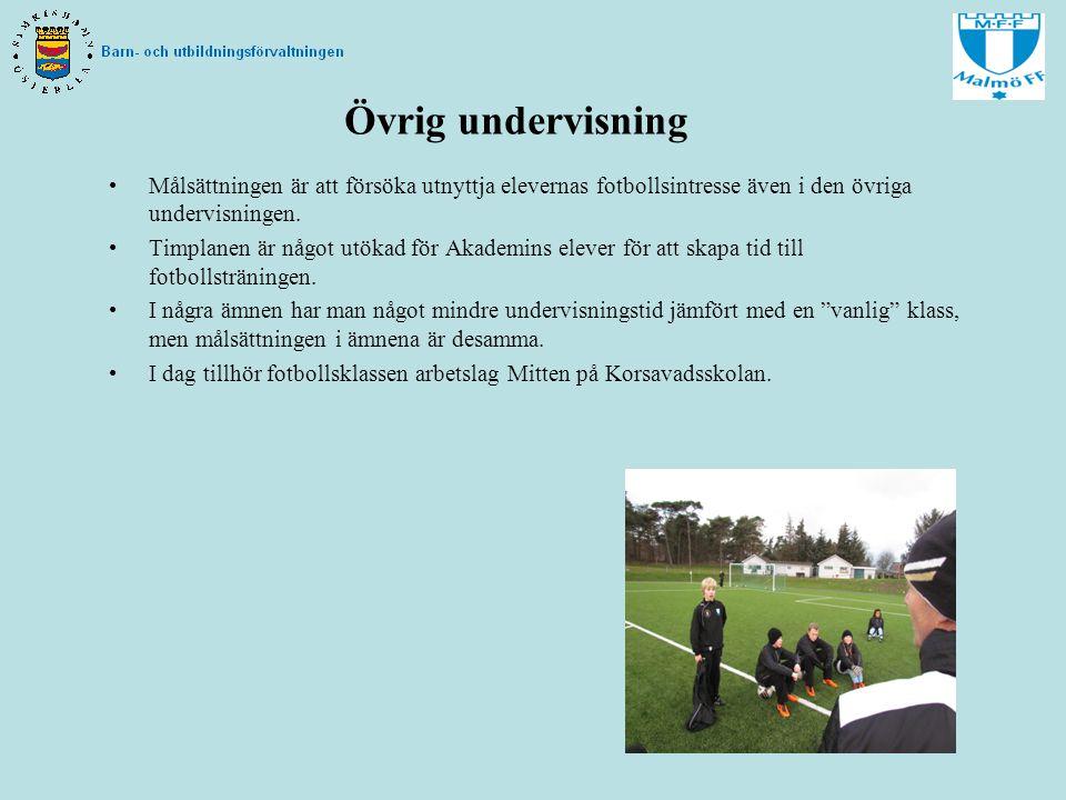 Övrig undervisning Målsättningen är att försöka utnyttja elevernas fotbollsintresse även i den övriga undervisningen.