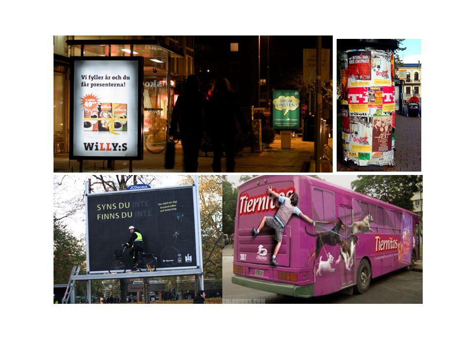 Idag ser reklamen något annorlunda ut, jämfört med torghandeln på 1600-talet. Idag uppträder reklambilder i olika miljöer och medier. Vi ser reklam i annonser i tidningar, trycksaker (flygblad, broschyrer, foldrar, dekaler). I reklamfilm i TV och på bio. Som banners på webbsidor på internet. Som affisch på reklampelare, busshållplatser, bussar osv.
