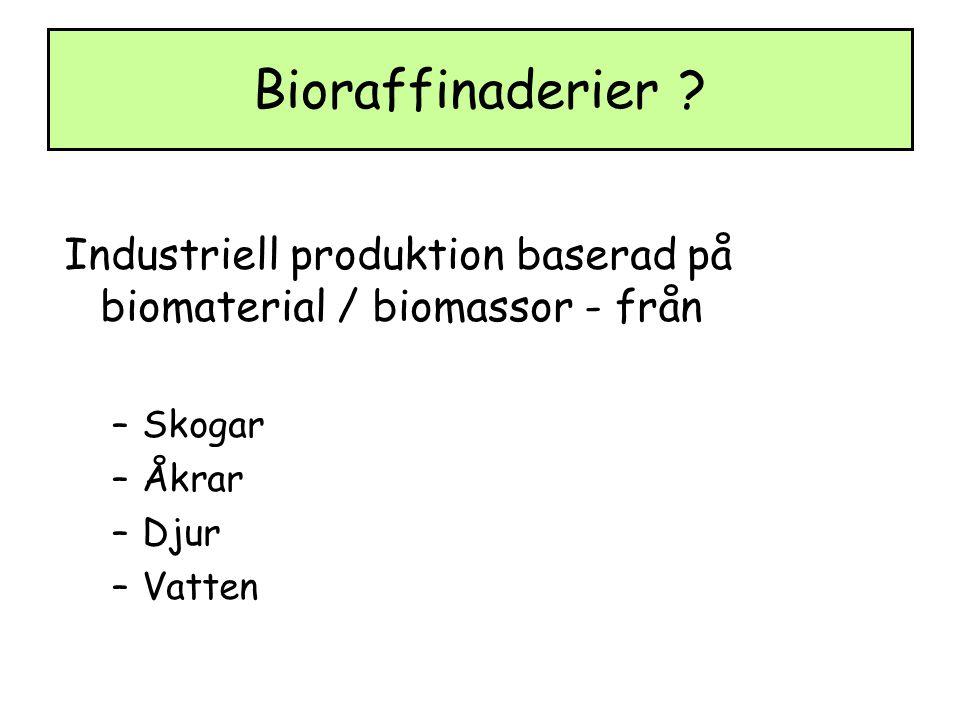 Bioraffinaderier Industriell produktion baserad på biomaterial / biomassor - från. Skogar. Åkrar.