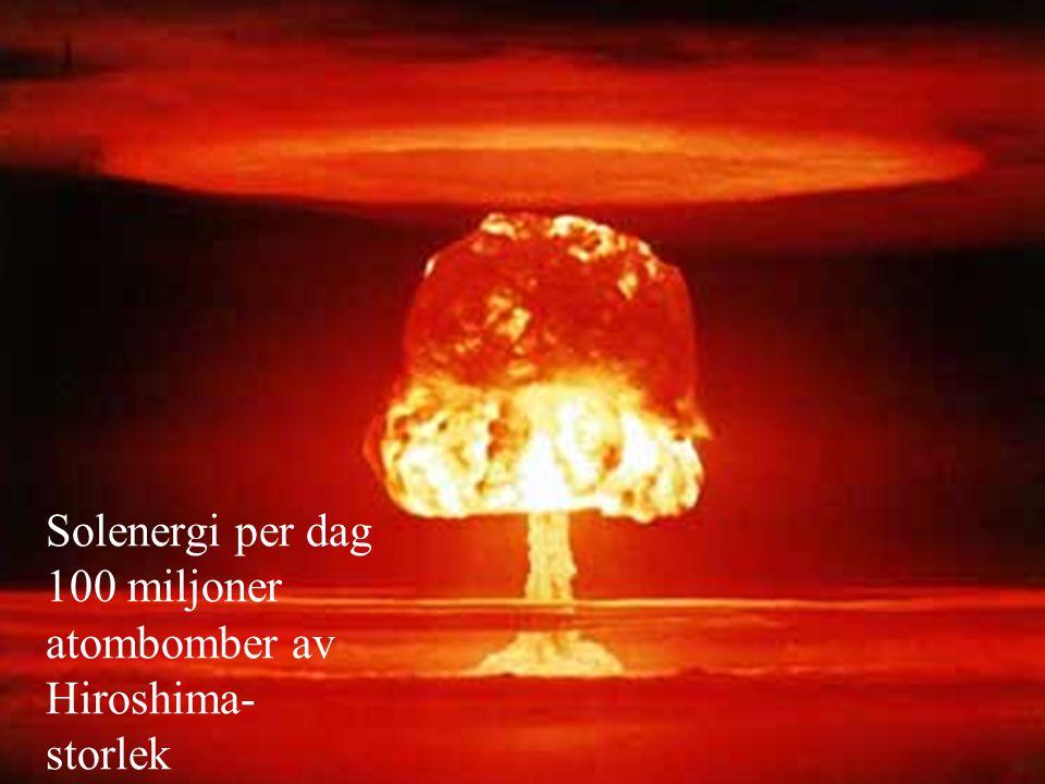 Solenergi per dag 100 miljoner atombomber av Hiroshima- storlek