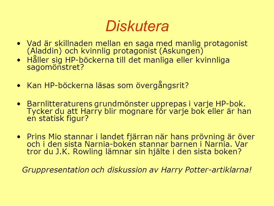 Gruppresentation och diskussion av Harry Potter-artiklarna!