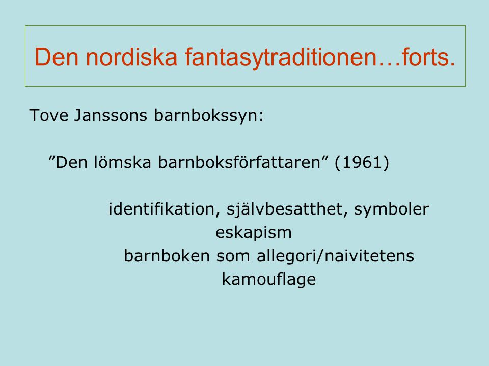 Den nordiska fantasytraditionen…forts.
