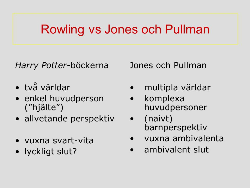 Rowling vs Jones och Pullman