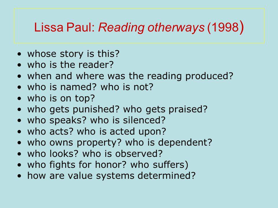 Lissa Paul: Reading otherways (1998)