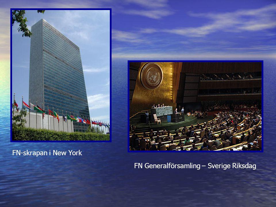 FN-skrapan i New York FN Generalförsamling – Sverige Riksdag